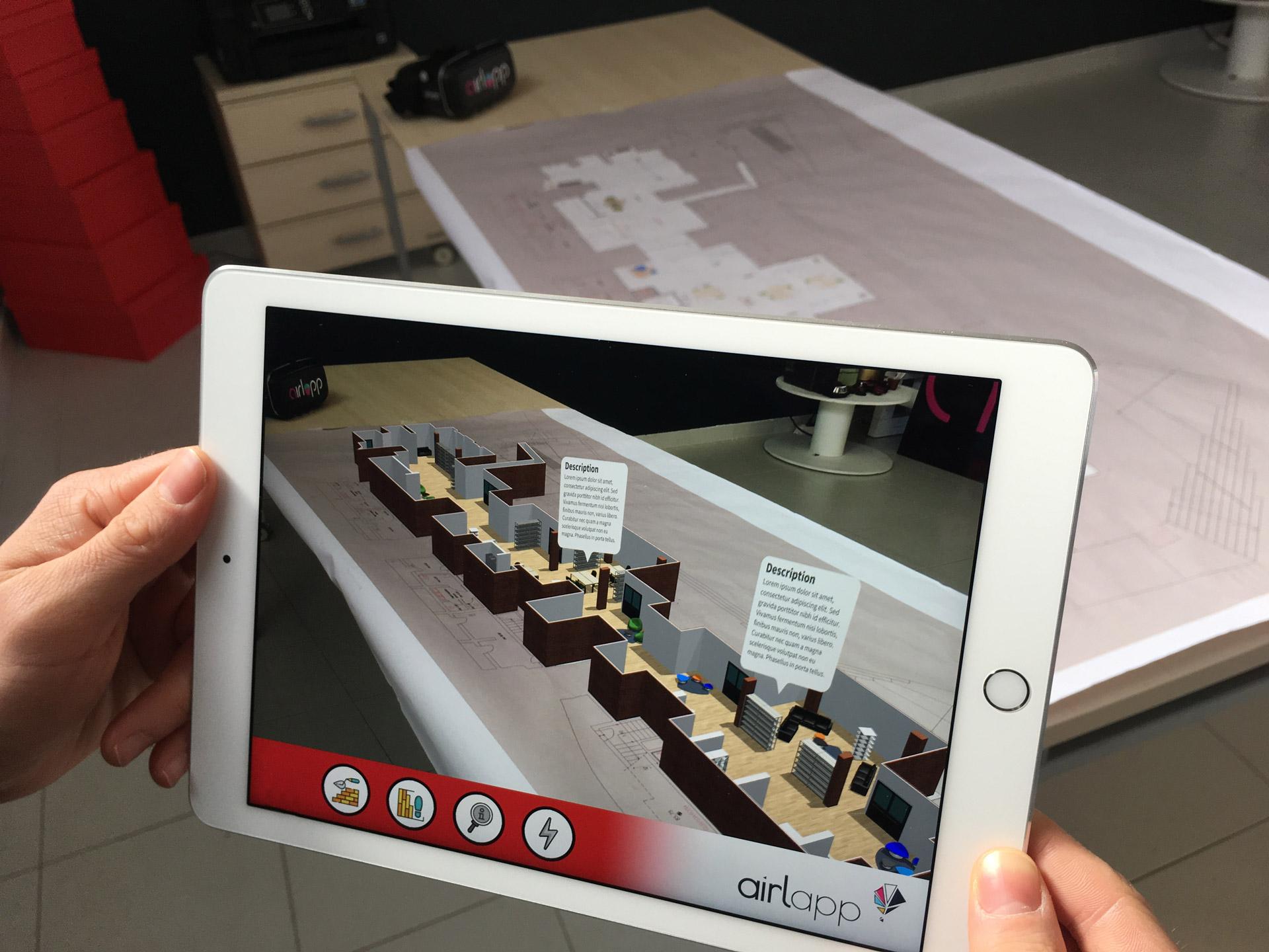 Immagine App Realtà Aumentata AR Extrude nella quale si vede il progetto completo visualizzato in modalità AR