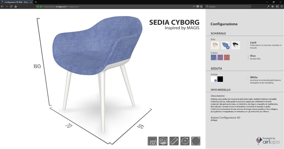 Immagine del configuratore web 3D di prodotto che permette di personalizzare una sedia direttamente dal browser creato da Airlapp