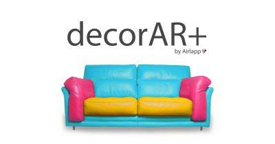 Copertina dell'app DecorAr+ di Airlapp che rappresenta un divano