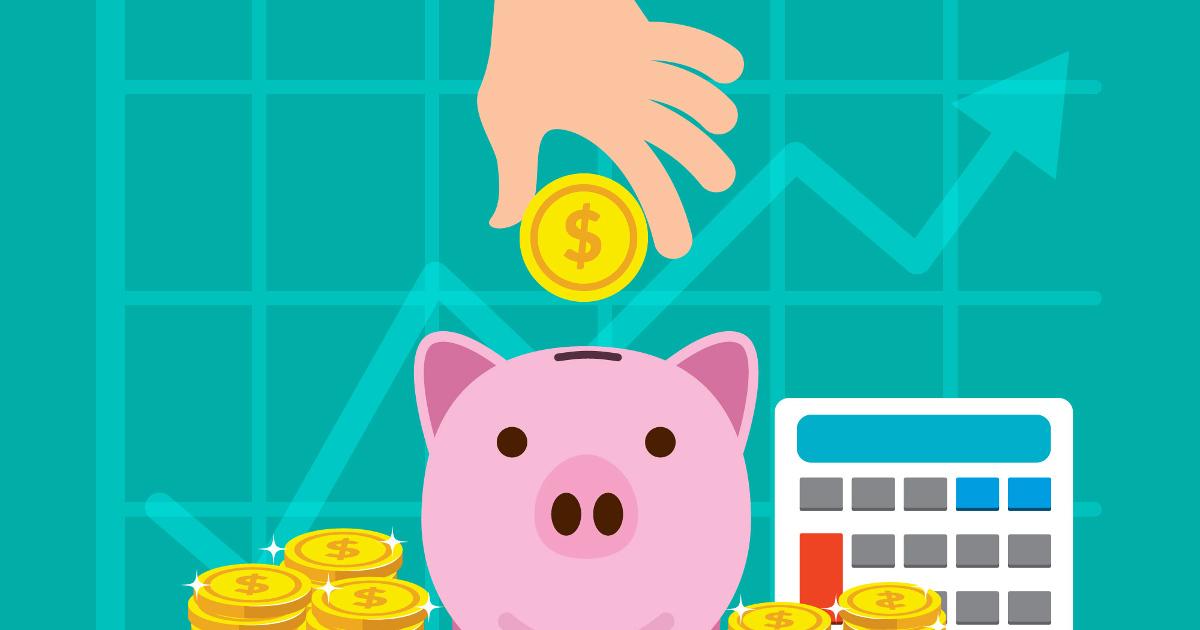 Simboli che rappresentano incentivi ed investimenti (salvadanaio, denaro e calcolatrice)