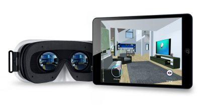 Visore di reltà virtuale e tablet con la app Regiverse in esecuzione che mostra un progetto