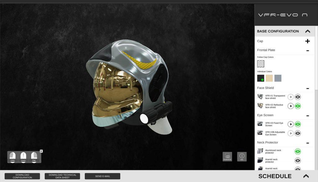 Screenshot del configuratore 3D di Sicor S.p.a. che mostra il casco VFR-EVO N