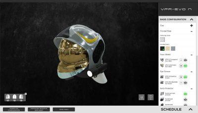 Screenshot del configuratore 3D di SICOR S.p.a. con il casco VFR-EVO N