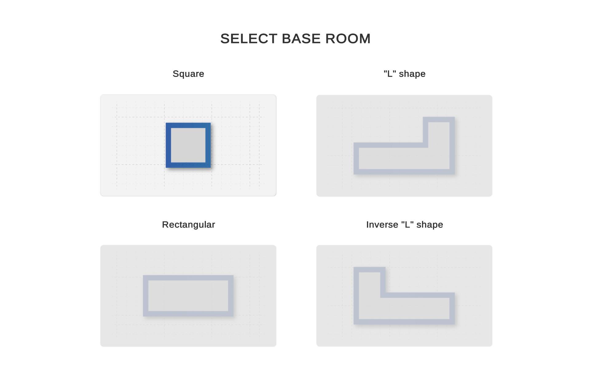 Schermata di selezione della forma base della stanza del planner 3D demo