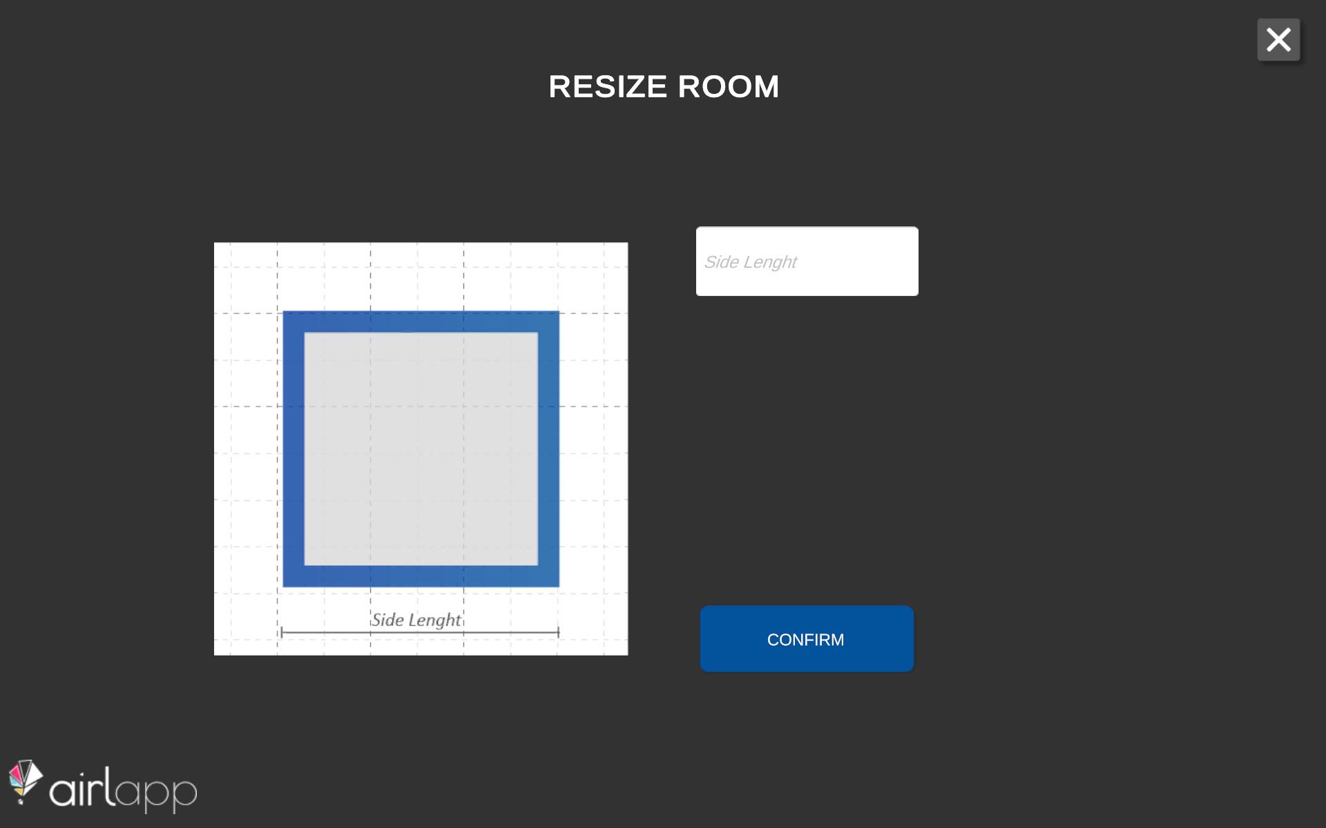 Schermata dell'impostazione della dimensione della stanza del planner 3D demo