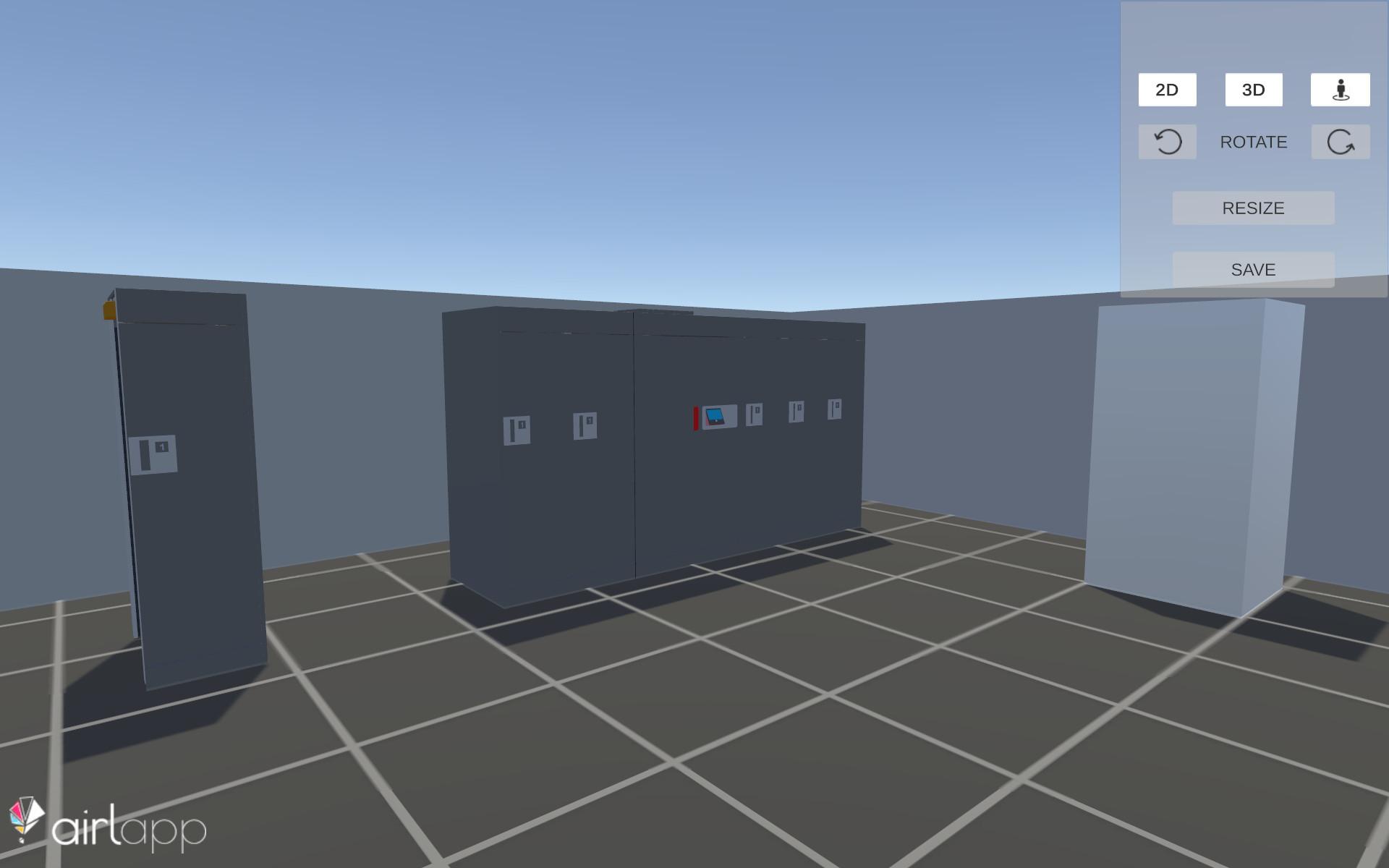 Schermata della vista in prima persona del planner 3D demo