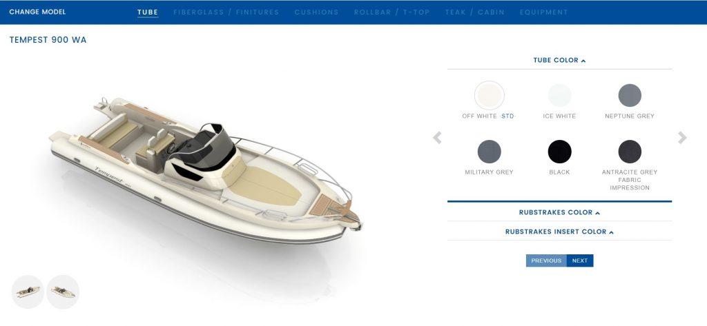 Cantieri Capelli configuratore web 3D di yacht, motoscafi e catamarani