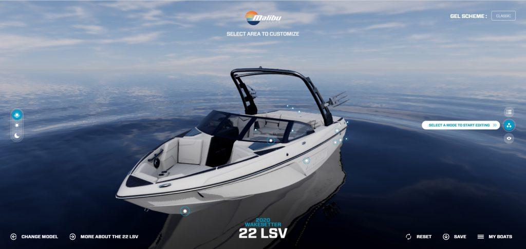 Malibù Boats configuratore web 3D per yacht, motoscafi e catamarani