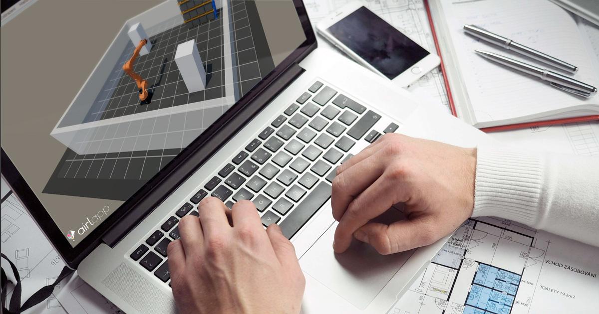 Persona al computer che progetta planimetrie utilizzando il Planner 3D di Airlapp