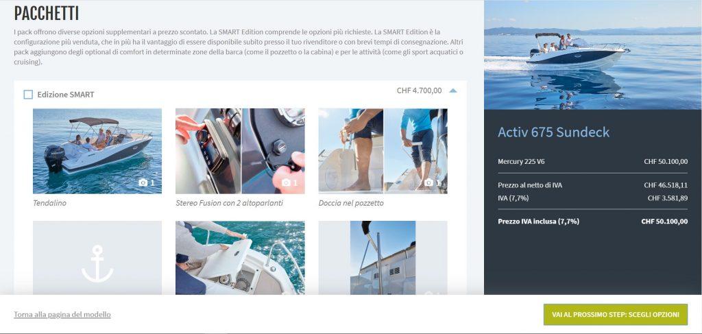 Quicksilver configuratore web 3D di yacht, motoscafi e catamarani