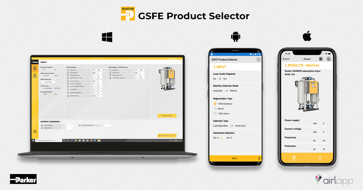 GSFE Product Selector Parker developed by Airlapp Software house